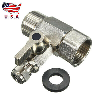 RO Feed Water Adapter 1/2'' to 1/4'' & Shut-off Ball Valve Tap Tee Connector#USA
