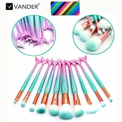 VANDER 10PcsProfession Mermaid Beauty Makeup Brushes Blush Brush Set + Bag