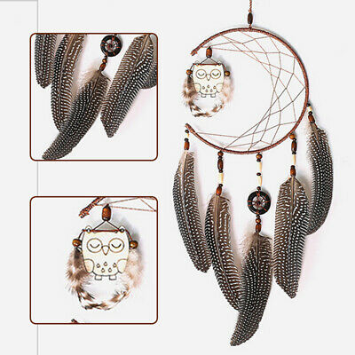 23'' Dream Catcher W/ Feather Wooden Owl Wall Hanging Car Home Decor Ornament