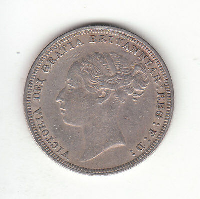 1880 Great Britain Queen Victoria Silver Sixpence. EF