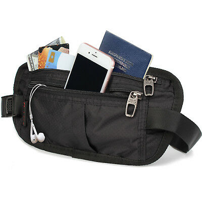 RFID Hidden Wallet Passport Money Waist Belt Travel Bag Slim Secret Security