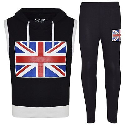 Kids Girls Boys England Flag Sleeveless Crop Black Hooded Top & Legging Set 7-13