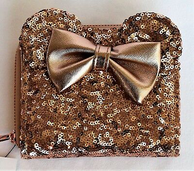 Disney Park Rose Gold Wallet Minnie Mouse Ears Sequined Loungefly Bag