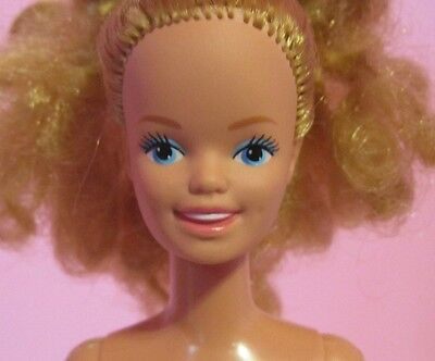 Vintage 1980s Skipper Barbie Sister Doll, Jewel Secrets Curly Hair Nude OOAK EUC