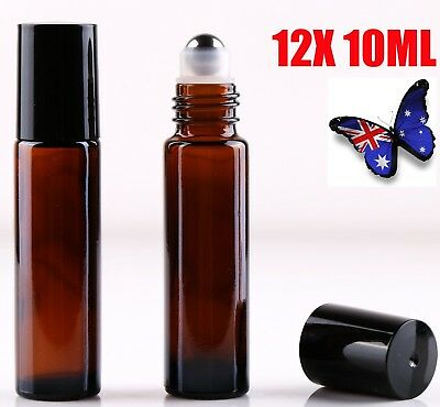 12 10ml Roller Bottles Amber THICK Glass Steel Roll on Ball for Essential Oils