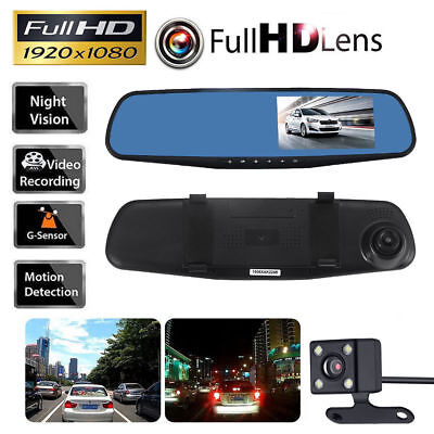 1080P Car DVR Rearview Dual Dash Cam Camera Vehicle Front  HD Video Recorder O5~