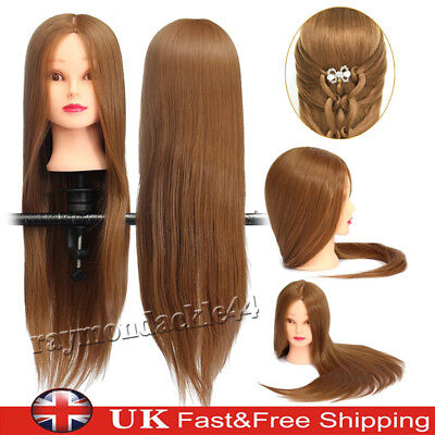 "24"" Real Hair Practice Training Head Mannequin Hairdressing Doll + Clamp UK"