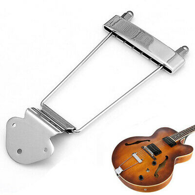 Chrome Guitar Tailpiece Trapeze Frame Bridge For 6 String Archtop Guitar Accs US