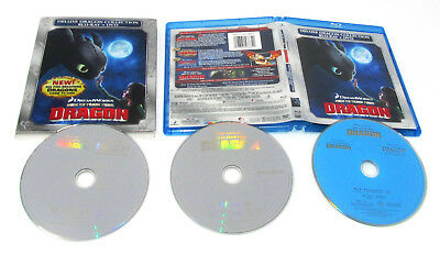 How to Train Your Dragon Blu ray + DVD Deluxe Dragon Collection Silver LIKE NEW