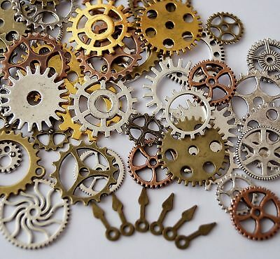 50 Metal Bronze Silver Gold Steampunk Cogs and Gears Clock Hand Charm Mix
