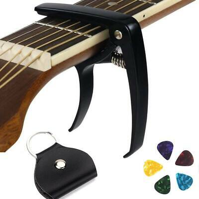 Quick Release Trigger Guitar Capo for Electric & Acoustic + 5 Picks + PU Holder