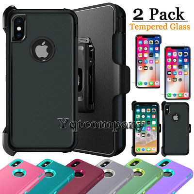 Shockproof Hard Case Cover For Apple iPhone XS Max XR XS X + Holster Belt Clip