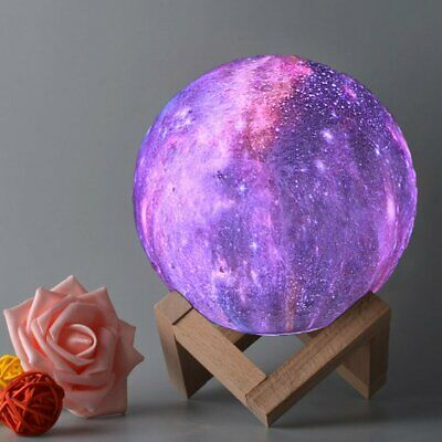 Dimmable 3D Moon Lamp LED Magical Moonlight Remote Night Light Touch Sensor Lamp