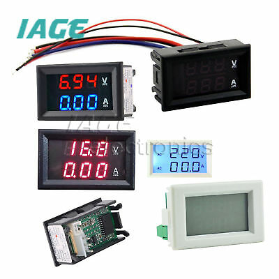 LED DC 0-100V 5-100A/AC 80-300V 50A Dual Digital Amperemeter Panel Meter