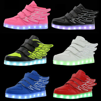 USB LED Light Up Kids Boys Girls Trainers Sneaker Children Shoes Szie XMAS Gift