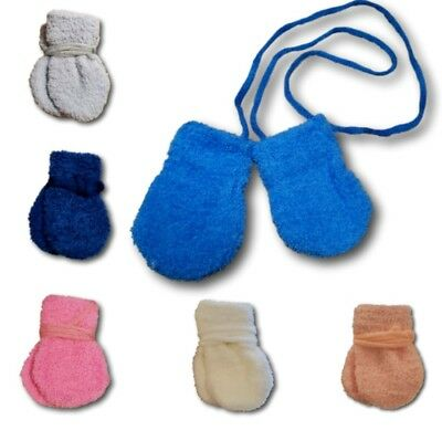 Baby Boys Girls Toddler Winter Fluffy Mittens With String Plain Gloves Size 6-9M
