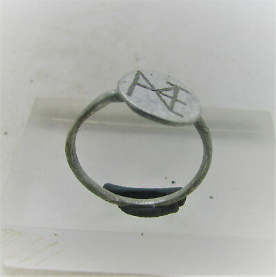 Ancient Byzantine Silver Signet Ring With Monogram On Bezel