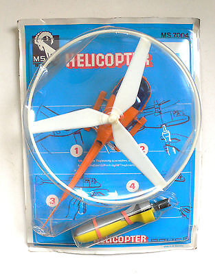 Vintage Flying HELICOPTER POLICE model toy spielzeug set MIP MS Toy 1970's