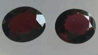 GRANAT FACETTIERT PAAR, 13x11mm oval, 12,95ct.
