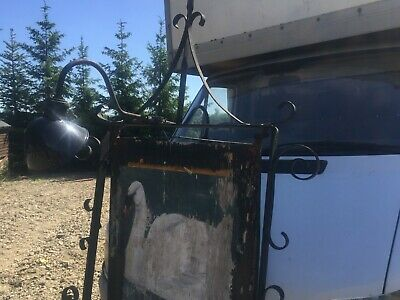 Very old metal  pub sign with fixing bracket and lights large and heavy
