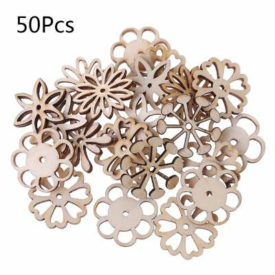 50pcs Laser Cut Wood Flowers and leaves Embellishment Wooden Craft Wedding Decor