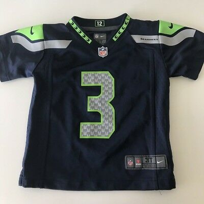 NIKE NFL Football Jersey Seattle Seahawks  3 Russell Wilson - Toddler Size  3T a915fa8d9