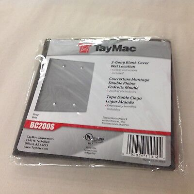 TayMac Gray 2-Gang Blank Cover Wet Location 4 1/2 x 4 1/2