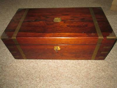 Antique Brass Bound Georgian Rosewood Writing Box, Hidden Drawers c1820
