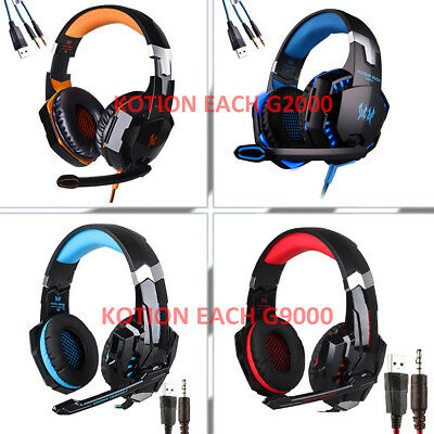 G9000/2000 Gaming Headphone Headset Stereo Over-ear with Mic LED for PC PS4