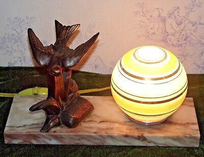 French Art Deco Marble Table Lamp With Yellow & Gold Shade Spelter Bird Figure