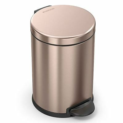 simplehuman 4.5 Litre Round Pedal Bathroom Bin with Removeable Inner - Rose Gold