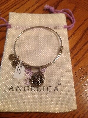 """Angelica """"Silver Tone"""" Lotus Flower White Finish Brass Expandable Bangle NWT"""