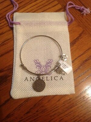 """Angelica """"Silver Tone"""" Flower of Life White Finish Brass Expandable Bangle NWT"""