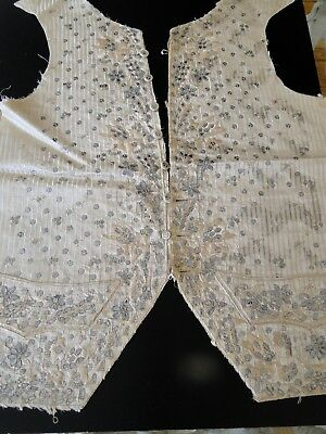 Circa 1770, Man's Embroidered Silk Waistcoat Fronts W/paste Paillettes