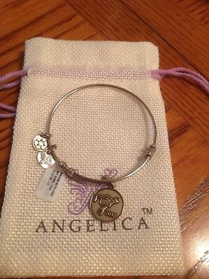 """Angelica """"Silver Tone"""" Class of 2017 White Finish Brass Expandable Bangle NWT"""
