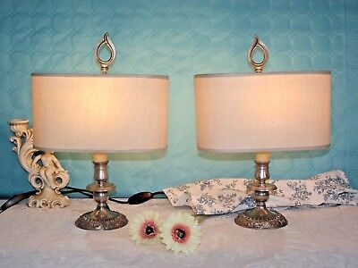 Pair Vintage French Silver Metal Bouilotte Style Table Lamps Cream Shades 623