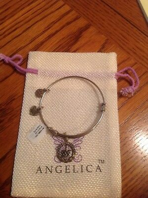 """Angelica """"Silver Tone"""" Happy Birthday White Finish Brass Expandable Bangle NWT"""