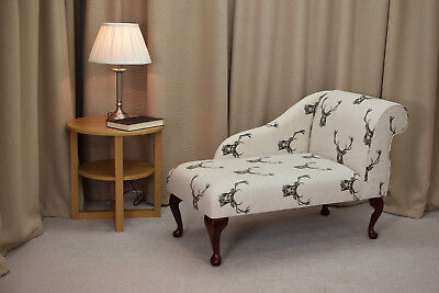 "41"" Small Chaise Longue Chair in a Stags Charcoal Cotton Print Fabric"