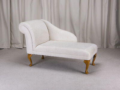 "45"" Small Chaise Longue Lounge Sofa Chair Seat Woburn Oyster Fabric Queen Anne"