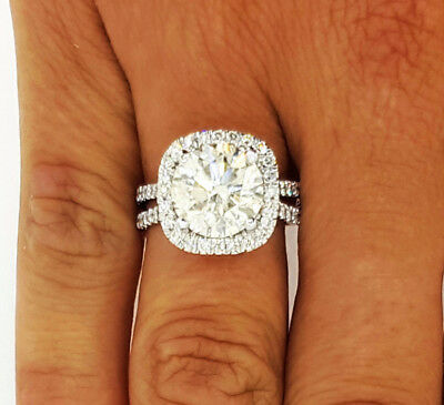 New 4 50 Ct F Vs1 Round Cut Diamond Cushion Halo Engagement Ring 14k