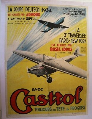 Affiche Originale Avion Caudron Coupe Deutsch 1934 Costes Bellonte Hispano Suiza