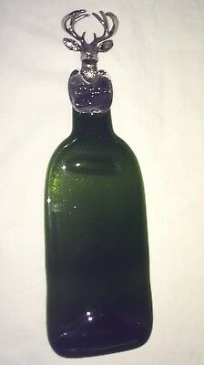 Wine Bottle Cheese Tray Flattened Melted Green Glass Deer with Antlers