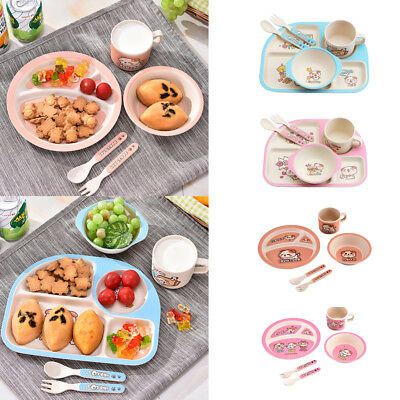 Bamboo Fiber Bowl Dishes Set Environmental Baby Feeding Tableware Set, 5 Pieces