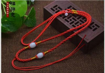 1Pcs Natural JADE beads Red Circle string cord rope for pendant Necklace C204