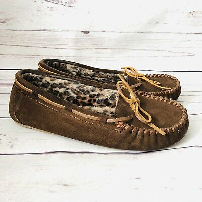 Minnetonka Moccasin Loafer Moc Womens size 8 Brown Suede cheetah faux fur