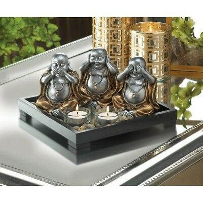 No Evil Buddha Candle Holder Garden Invites Serenity to Your Home Wood Base Nice