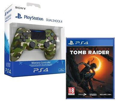 Controller Ps4 Dualshock 4 V2 Green Camouflage Playstation 4 + Tomb Raider Ps4