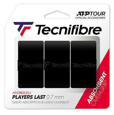 Tecnifibre Pro Overlast Tennis Racket Overgrips - 3 Pack - 0.7mm - Black