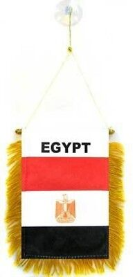Egypt MINI BANNER FLAG GREAT FOR CAR & HOME MIRROR HANGING 2 SIDED (FI)