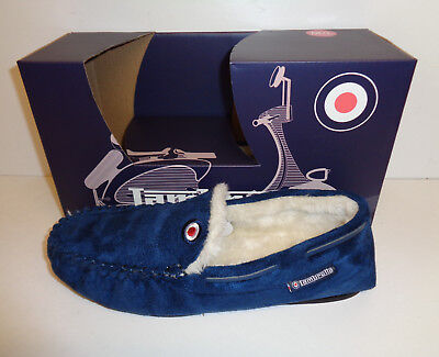 Mens Lambretta Navy Warm Memory Foam Winter Flat Slippers Slip On Mocassins Size